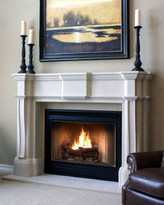 The Monticello cast fireplace mantel looks like natural limestone.