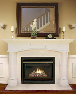 Barton Stone Mantel system.  Adjustable stone facing and hearth included