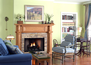 The Charleston mantel features solid wood columns on the legs and breast plate.