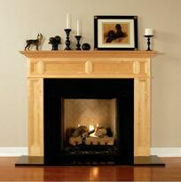 Concord fireplace mantel with a natural finish in maple.