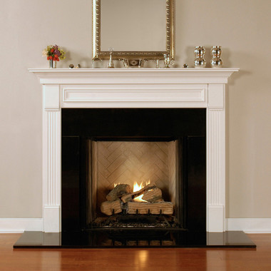 The Fredricksburg Standard Size Wood Fireplace Mantel is popular traditional style with fluted legs.