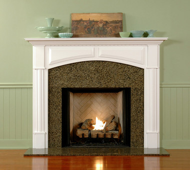 Arched breast and raised panels add elagance to the Lexington mantel surround.