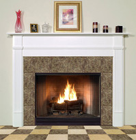 The Shippensburg mantel is shown in semi gloss white.