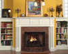 The Victoria mantel surround has column legs with latern appliques.
