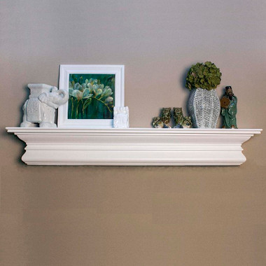 """Beautifully curved crown molding marks our Courtyard Mantel Shelf, available in paint or stain grade woods, and a selection of finish options.  Overall Shelf Height is 9 1/4."""""""