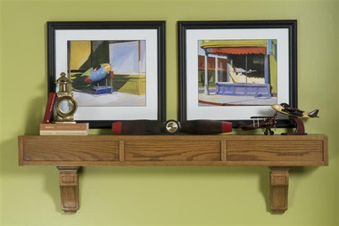 Craftsman, mission style mantel shelf with corbels