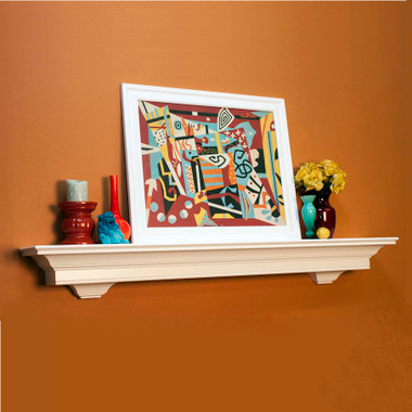 Lynlee shelf has decorative corbels attached