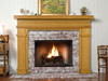 The Bridgewater custom fireplace mantel shown with brick facing.