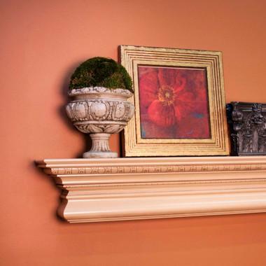 The Manorville fireplace mantel shelf, in our Hazelnut Glaze finish