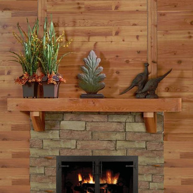 Western Red Cedar Mantel Shelf with corbel brackets, in rough sawn finish.  Smooth finish available, as well. No sealer or finish coat is applied or needed