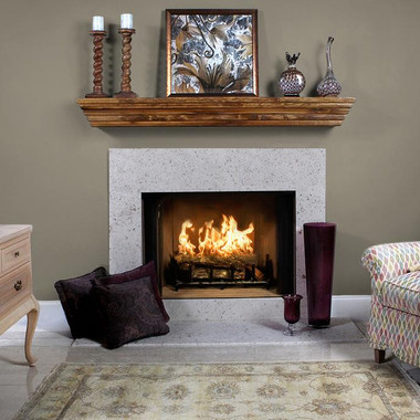 Ithaca Sand River Wash Limestone Facing Fireplace