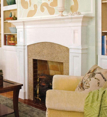 The Hartford mantel features recessed panels and a gentle arch