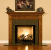 The Hillsboro fireplace mantel is shown here with a granite facing kit.