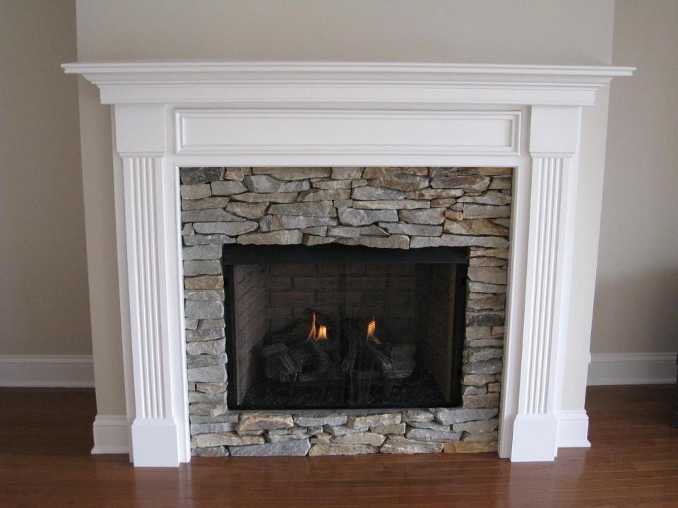 Oak mantel painted white
