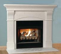 The Toscana Stone Mantel is lightweight and available in two limestone finish colors.  A hearth is optional.