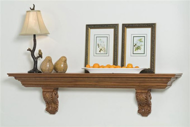 The Arcadian shelf uses hand carved Acanthus leaf corbels.