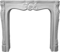A small cast plaster mantel with French design details