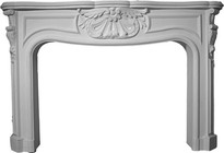 Large French Stone Fireplace Mantel