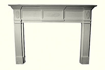 A paintable gypsum stone fireplace mantel - in a distinctive elaborate design with decorative sunbursts frieze design.  A perfect centerpiece for any room