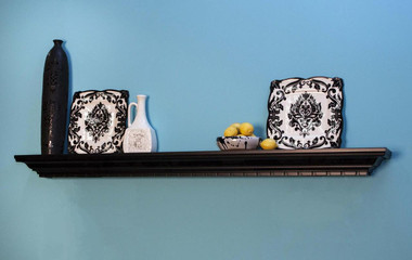The Catalina fireplace mantel shelf shown in one of our finish options