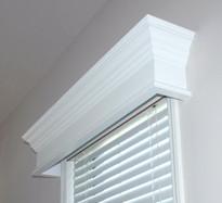 Pleasanton window cornices shown in white