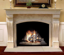 "Travertino Arch Stone Mantel for 42"" Fireplace"
