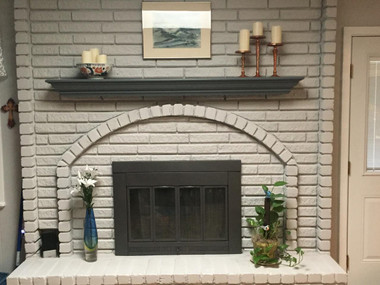Painted custom gray on the Marilyn mantel shelf