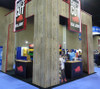 Display built by Exhibit Options in CA using the Weathered Cedar paneling