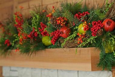 Detail image of cedar mantel shelf.