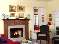 Paired column legs gives this fireplace a traditional style