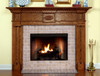 Shown in one of the color/wood options that are available, the quality or look of the Colonial fireplace does not change.