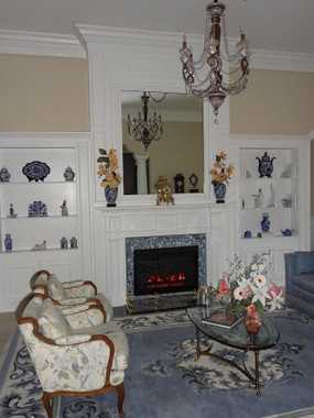 The Colonial traditional fireplace mantel was the focal point featured in this living room remodel in the fall of 2013