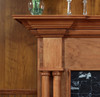 The wood capitals sets the Princeton fireplace mantel apart from others.