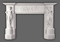 Neoclassical styling marks the Canova marble mantel.  Antonio Canova inspired Dancing Girls, and a center freize depicting goddess of dawn Aurora leading sun god Apollo. Available in White Limestone.