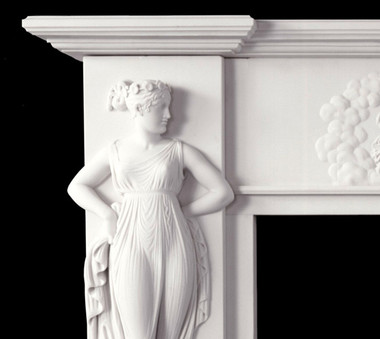 No details left undone on this fine reproduction antique marble mantel with Italian design.