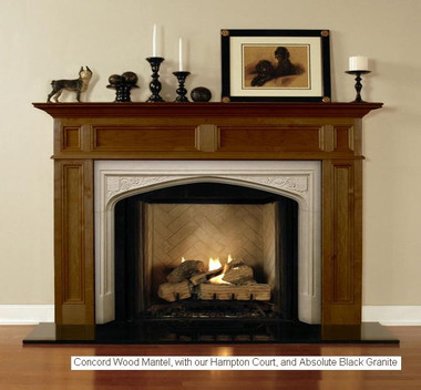 Hampton court shown as a surround facing for the Concord fireplace mantel.