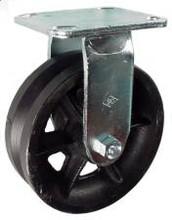 "6"" x 2"" V-Groove Cast Iron Rigid Caster - 900 lbs Capacity"