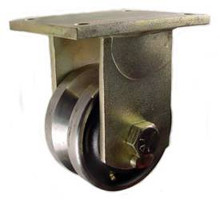 """6"""" x 3"""" Forged Steel V-Groove Rigid Caster - 5000 lbs Capacity"""