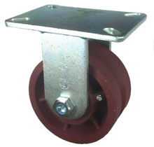 "6"" x 3"" V-Groove Ductile Steel Wheel Rigid Caster (7/8"" Groove) - 4500 lbs Capacity"