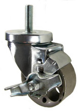"3"" x 1-1/4"" Steel Stem Casters with 1/2"" Threaded Stem & Brake - 350 lbs Capacity (Q523022STLTLB)"