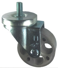 "3"" x 1-1/4"" Steel Wheel Caster with 1/2"" Threaded Stem (1"" Length) - 300 Lbs Cap."
