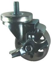"3"" x 1-1/4"" Steel Wheel Caster with 1/2"" Threaded Stem & Brake (1"" Length) - 300 Lbs Cap."