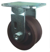 "4"" x 2"" V-Groove Ductile Steel Wheel Rigid Caster - 1200 lbs Capacity"