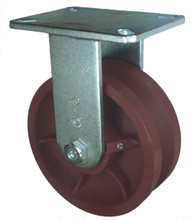"8"" x 3"" V-Groove Ductile Steel Wheel Rigid Caster (1-3/8"" Groove) - 3500 lbs Capacity"
