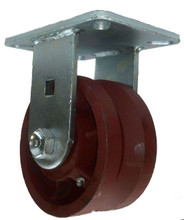 "6"" x 3"" V-Groove Ductile Steel Wheel Rigid Caster (1-3/8"" Groove) - 5000 lbs Capacity"
