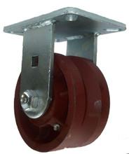 "6"" x 3"" V-Groove Ductile Steel Wheel Rigid Caster (1-3/8"" Groove) - 5000 lbs Capacity"
