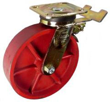 "8"" x 2"" Ductile Steel Wheel Casters with Brake -1250 lbs Capacity"