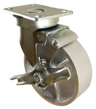 "4"" x 1-1/4"" Semi-Steel Swivel Caster with Brake -350 lbs Capacity (Q524001STLTLB)"