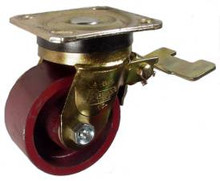 """4"""" x 2"""" Ductile Steel Swivel Caster with Total Lock Brake -1200 lbs Capacity"""