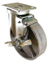 "5"" x 1-1/4"" Cast Iron Swivel Caster with Brake - 350 lbs Capacity (Q525001STLTLB)"